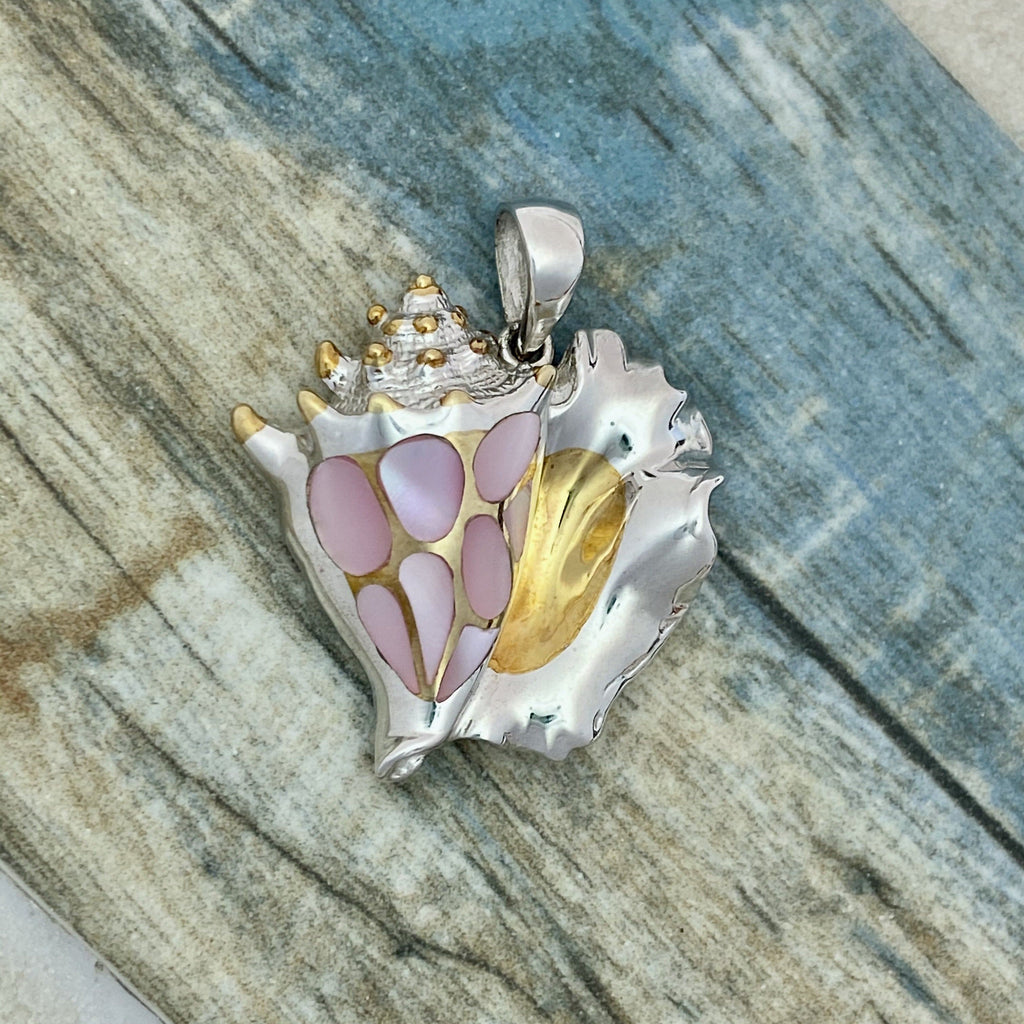 925 and 18k Gold Plating Conch with Pink Mother Of Pearl Kovel Collection Pendant - DePaulas