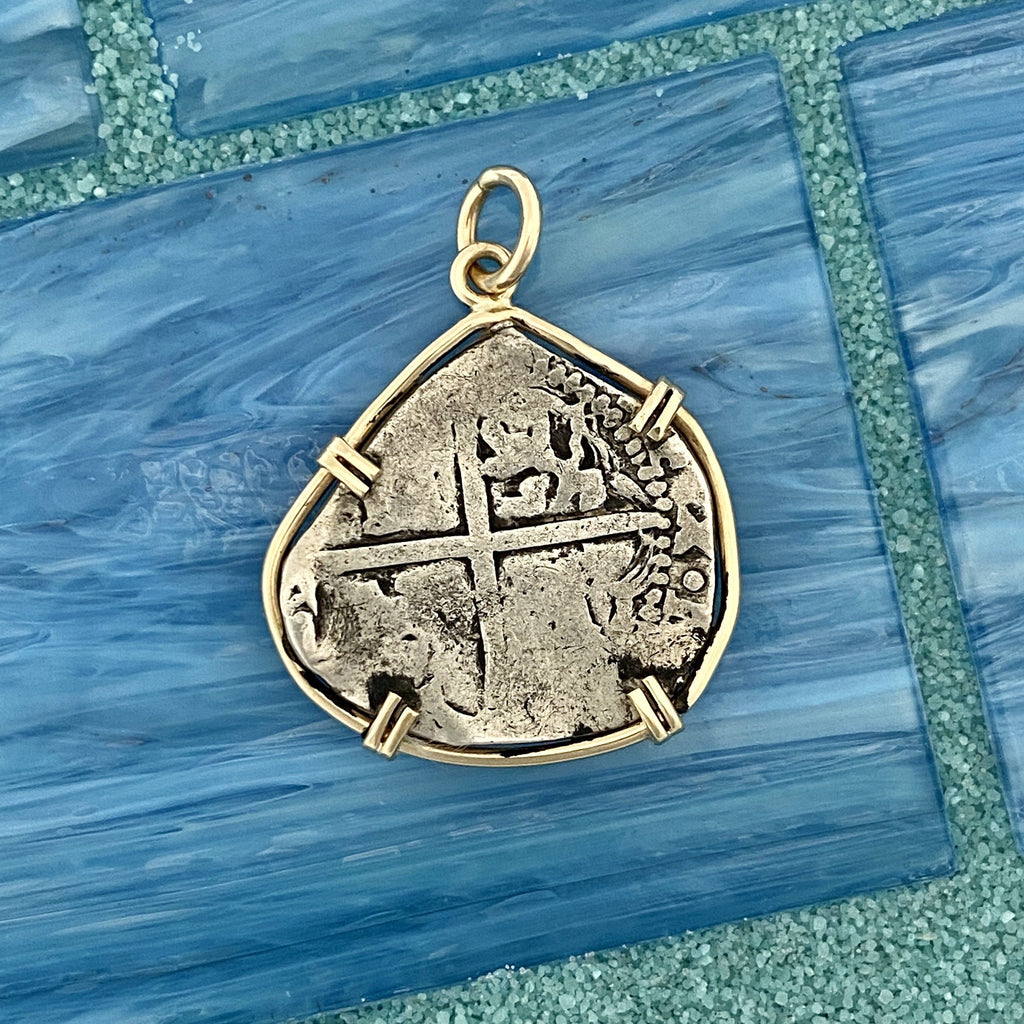 2 Reales Spain Mint Salvage Camp Find 14k Yellow Gold Bezel Treasure Coin Pendant - DePaulas