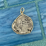 2 Reales Spain Mint Salvage Camp Find 14k Yellow Gold Bezel Treasure Coin Pendant