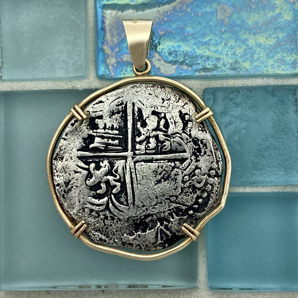 8 Reales Atocha Potosi Mint Grade 2 Assayer Q 14k Yellow Gold Bezel Treasure Coin Pendant - DePaulas