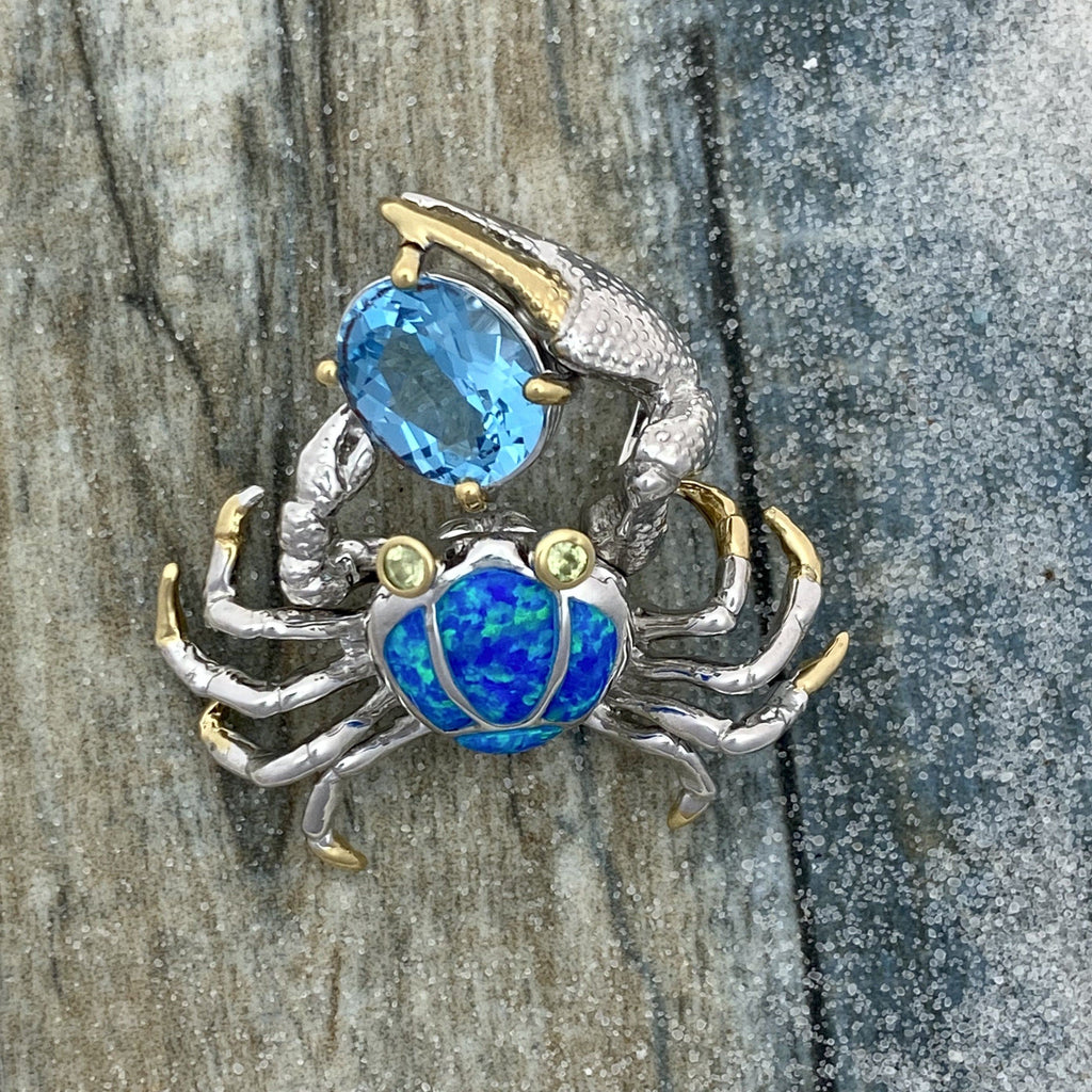 925 and 18k Gold Plating Synthetic Opal Crab Holding Blue Topaz Kovel Collection Pendant - DePaulas