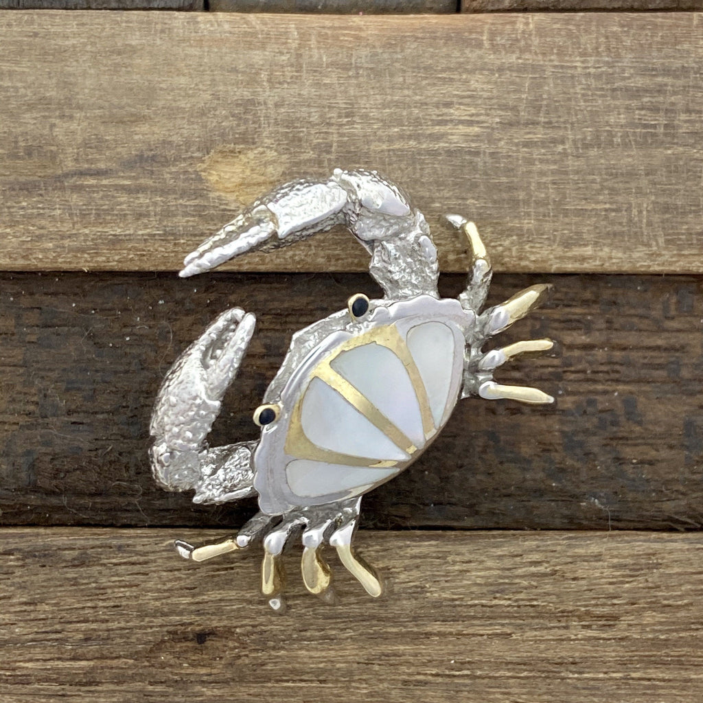 925 and 18k Gold Plating Mother of Pearl Crab Kovel Collection Pendant - DePaulas