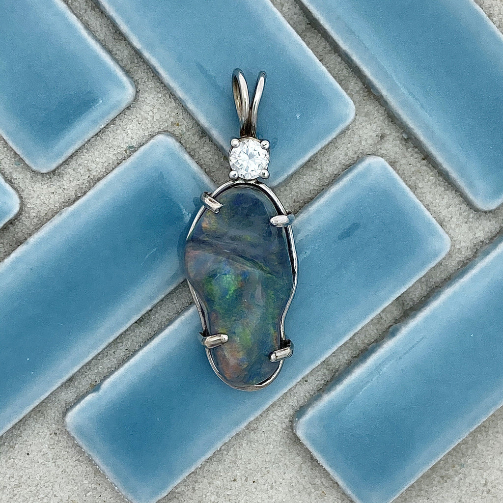 14k White Gold Wrapped Semi-Black Opal 8.87ct with Diamond .24ct DePaula Hand Made Custom Pendant - DePaulas