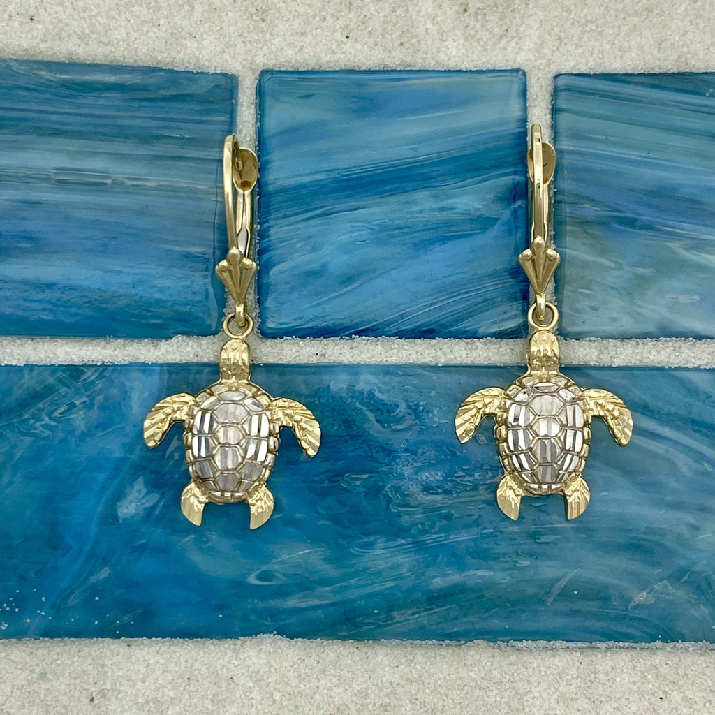 14k 2-Tone Gold Diamond Cut Turtle Leverback Earrings - DePaulas