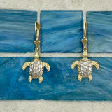 14k 2-Tone Gold Diamond Cut Turtle Leverback Earrings