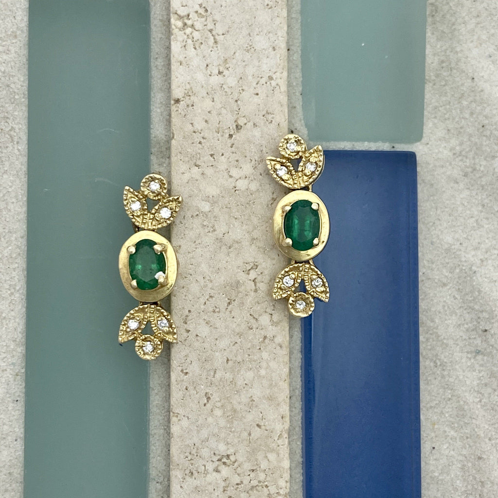 14k Yellow Gold Emerald 1.20cttw With Diamonds .12cttw Post Earrings - DePaulas