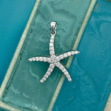 14k White Gold Diamond .76cttw Starfish Pendant