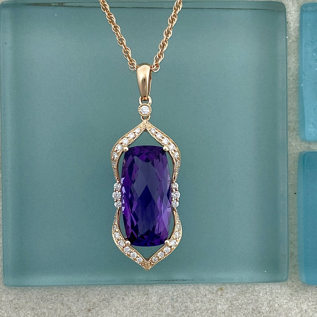 14k Rose Gold Amethyst 5.06ct with Diamonds .24cttw Necklace - DePaulas