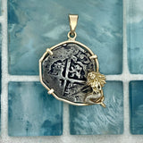 2 Reales Toledo, Spain Mint Dated 1567 Assayer V 14k Yellow Gold Bezel with Mermaid Treasure Coin Pendant
