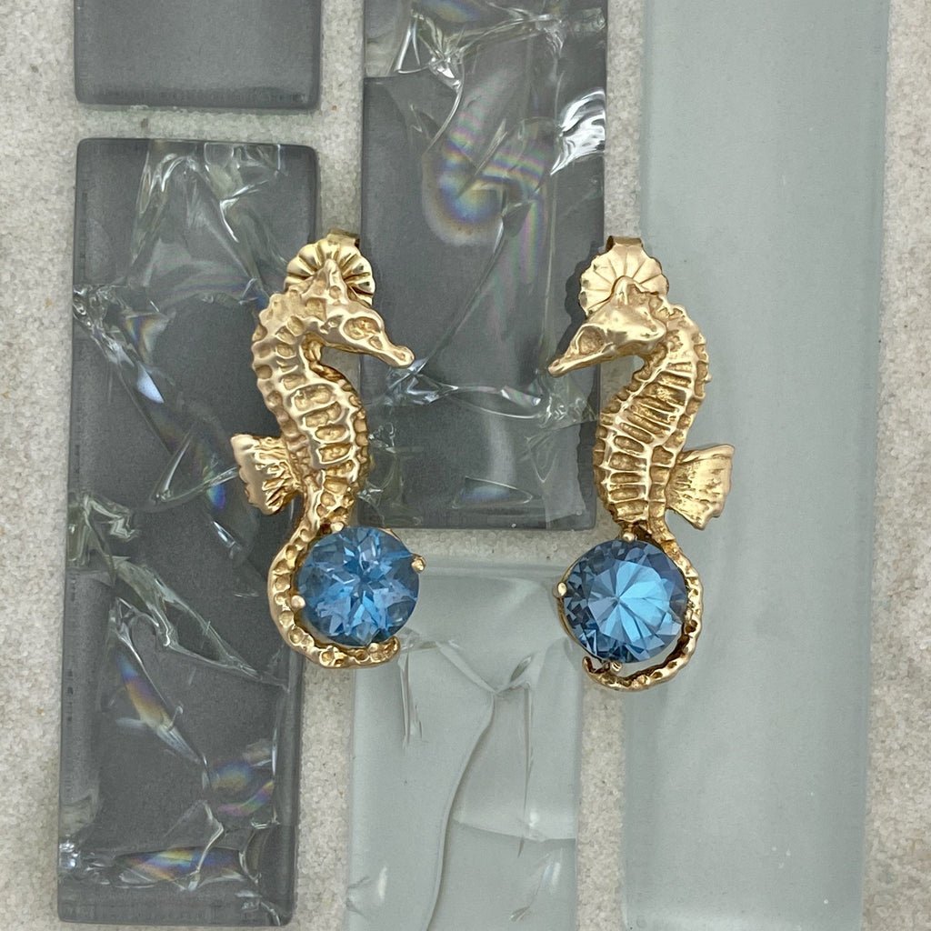 14k Yellow Gold Seahorse Holding Blue Topaz Post Earrings - DePaulas
