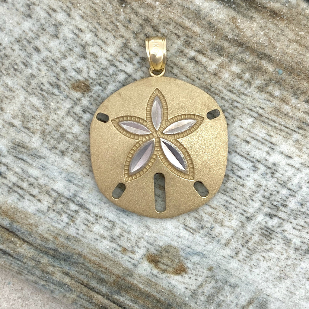 14k 2-Tone Gold Diamond Cut Satin Sand Dollar Pendant - DePaulas