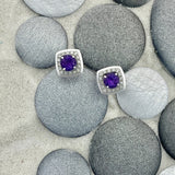 14k White Gold Amethyst .91cttw with Diamond Halo .13cttw Post Earrings