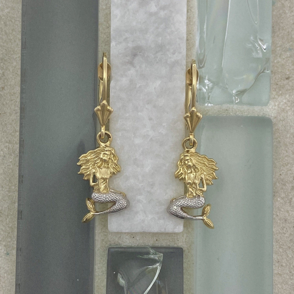 14k 2-Tone Gold Mermaid Leverback Earrings - DePaulas