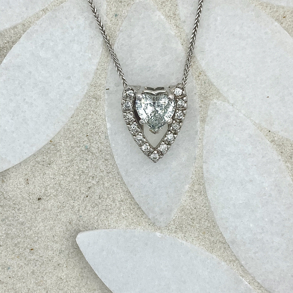 14k White Gold Heart Shape Diamond 1.01ct with Diamond Accents .28cttw Necklace - DePaulas
