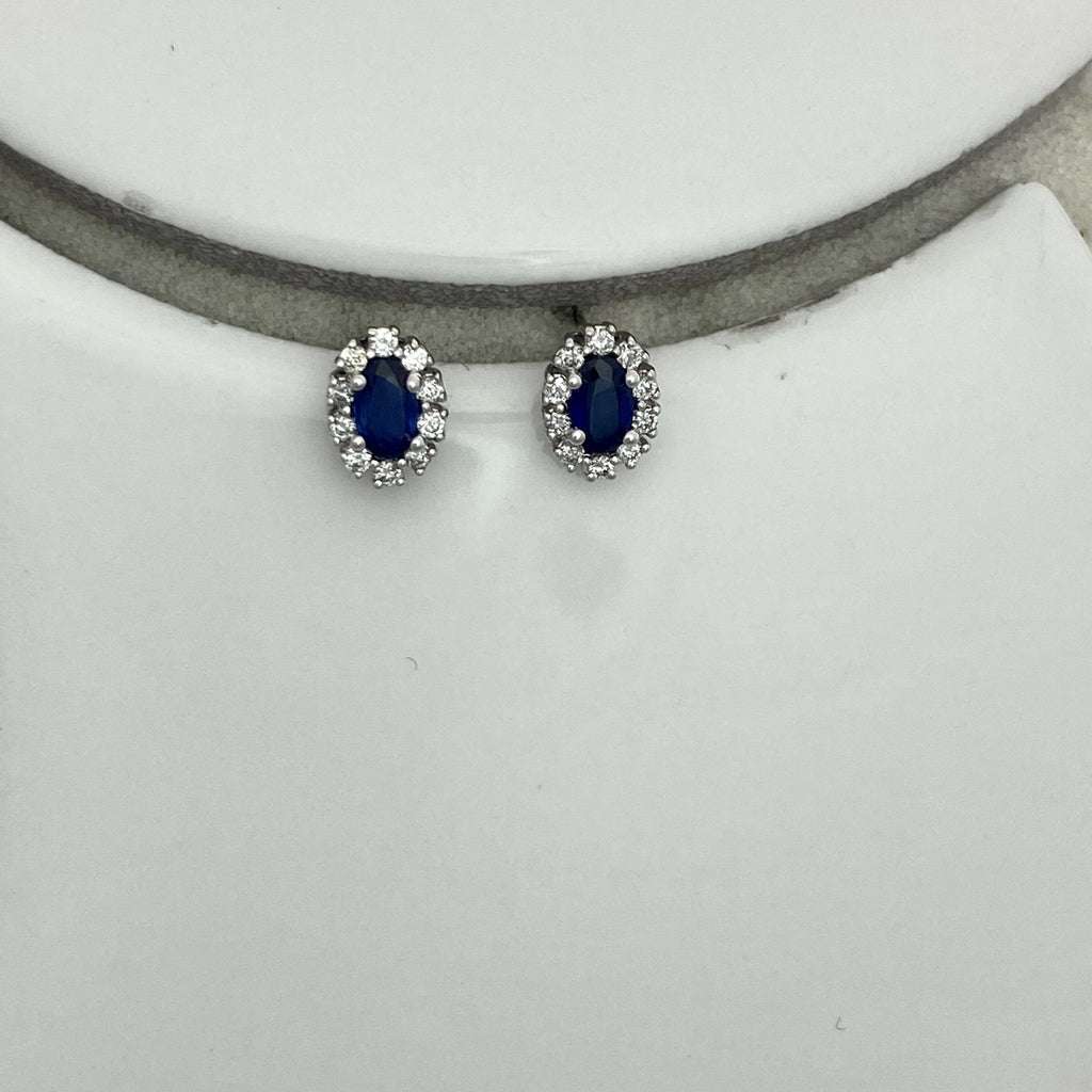 14k White Gold Oval Sapphire .66cttw with Diamond Halo .20cttw Post Earrings - DePaulas