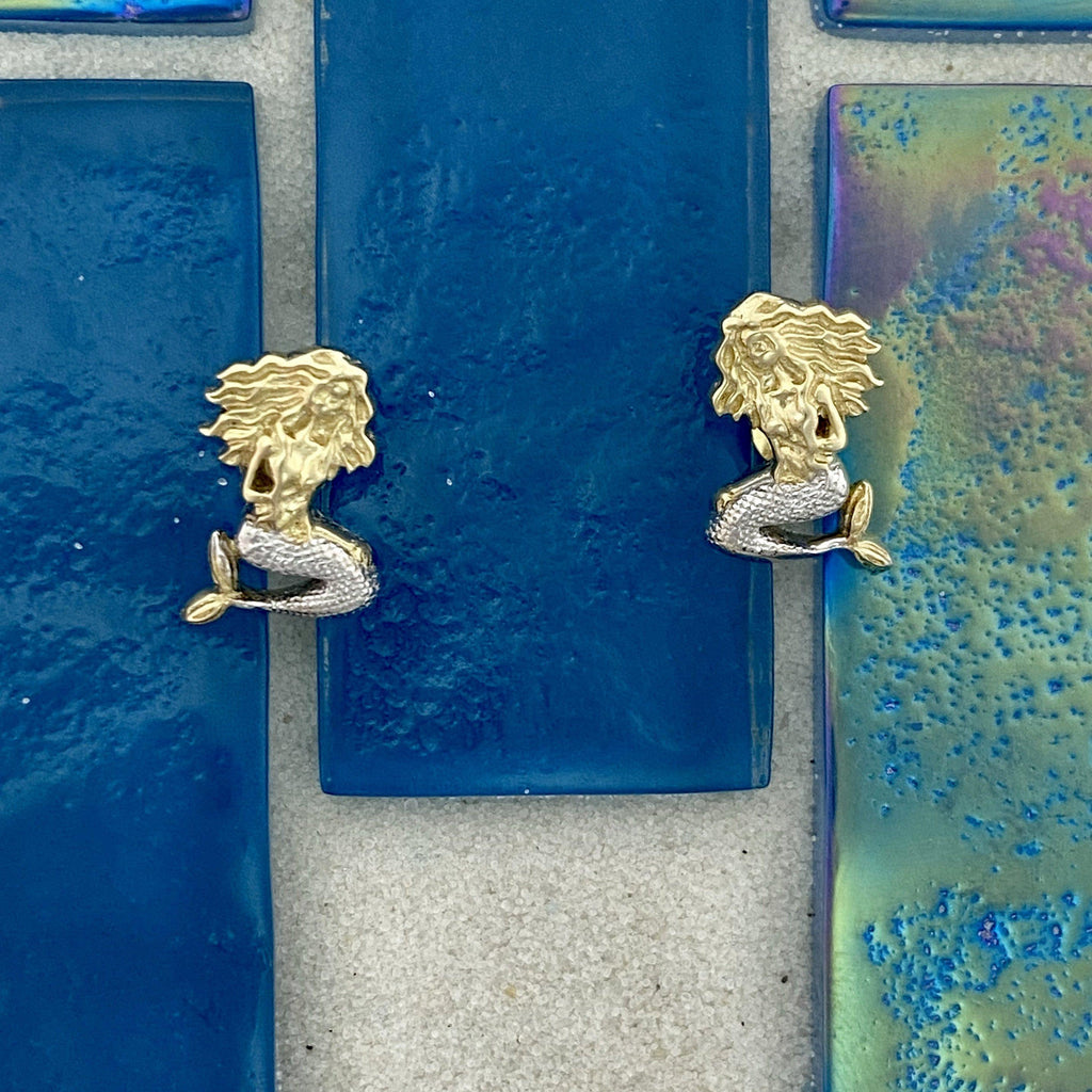14k 2-Tone Gold Mermaid Post Earrings - DePaulas