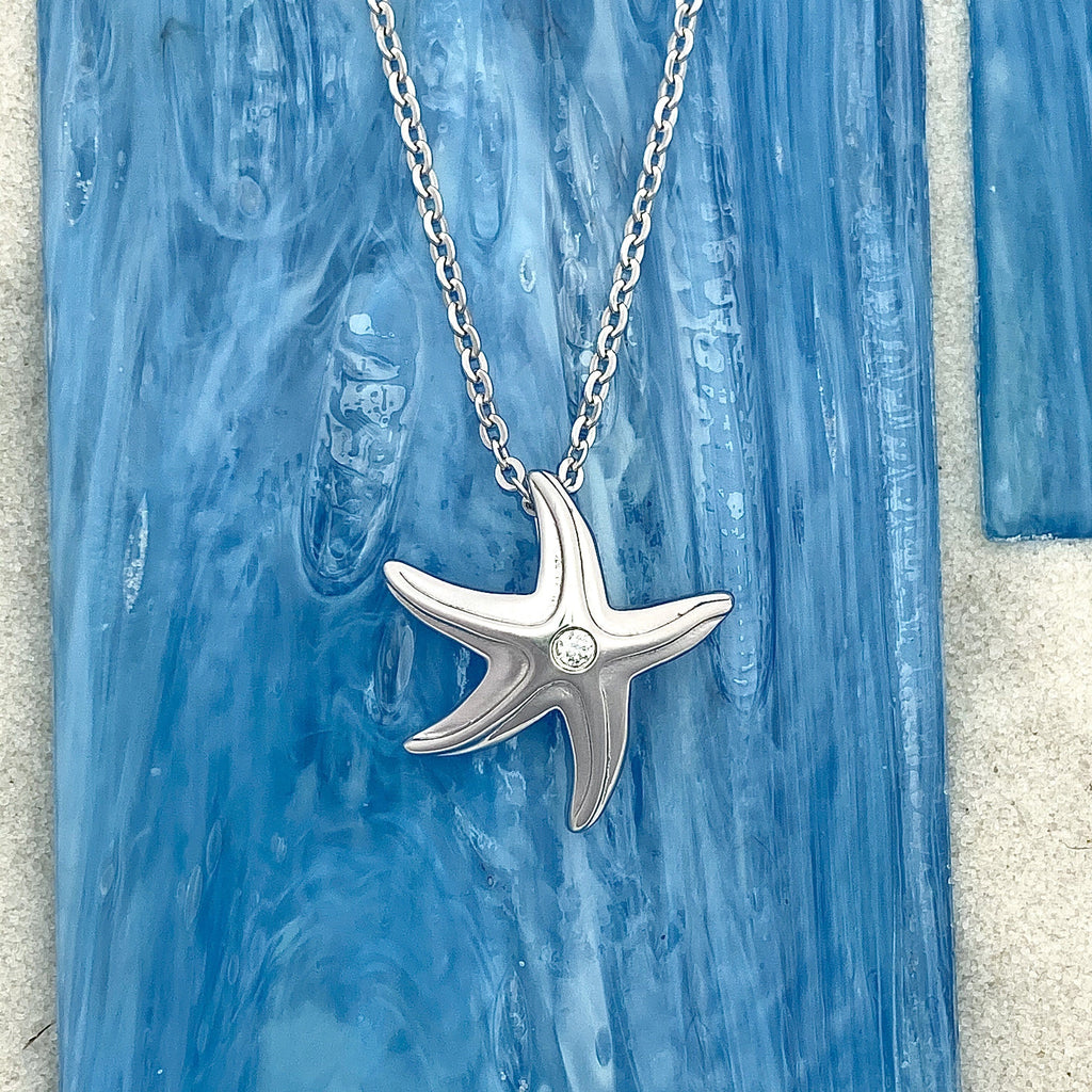 925 Sterling Silver Starfish With Cubic Zirconia Necklace - DePaulas