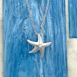 925 Sterling Silver Starfish With Cubic Zirconia Necklace