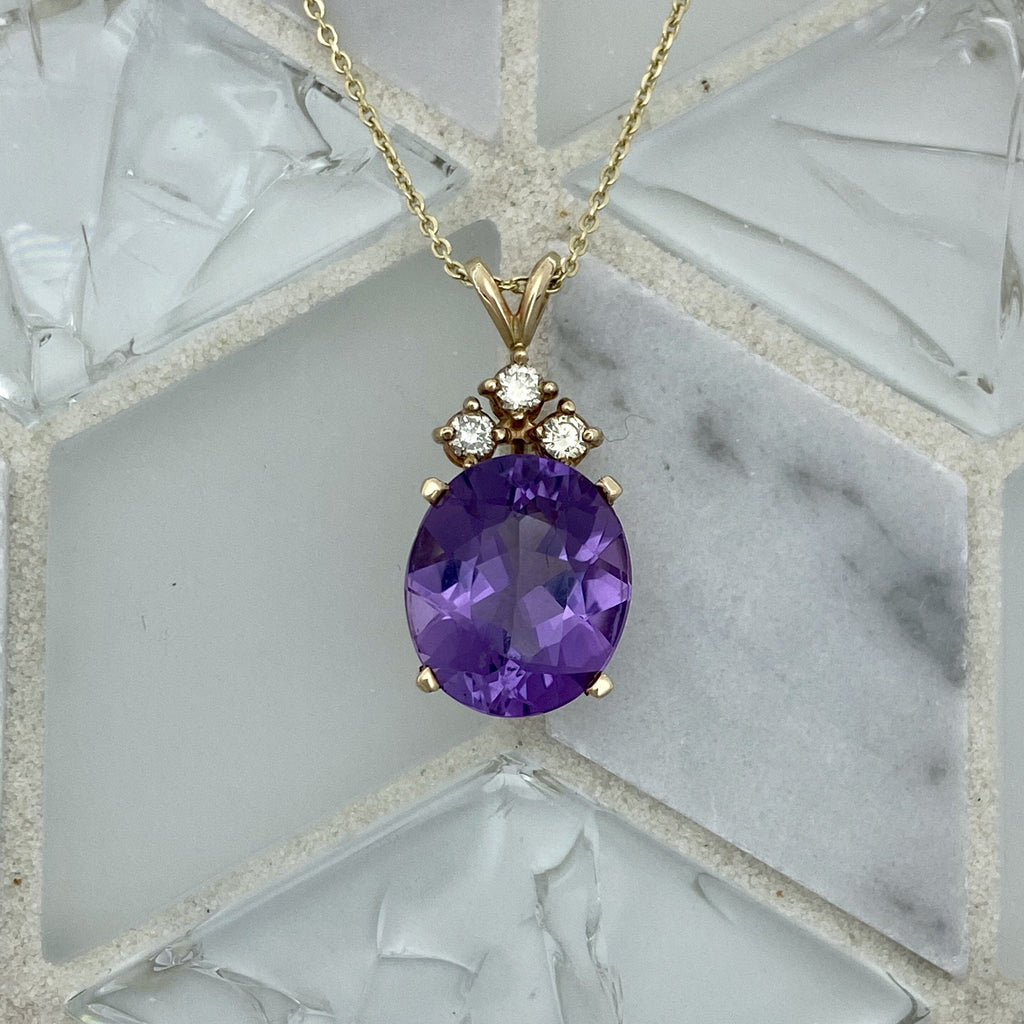 14k Yellow Gold Amethyst with Diamonds .12cttw Necklace - DePaulas