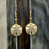 14k Yellow Gold Diamond Cut Sand Dollar Leverback Earrings