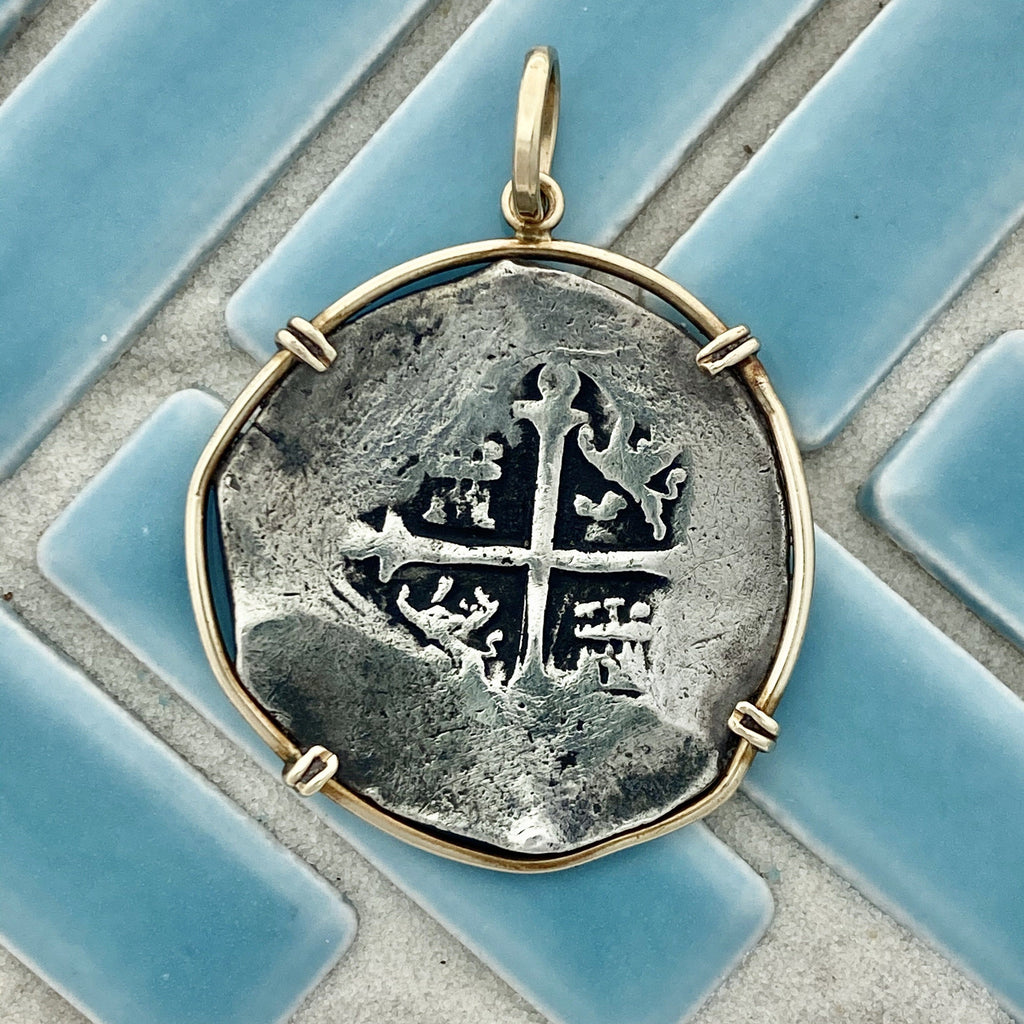 4 Reales Mexico Mint Concepcion 14k Yellow Gold Bezel Treasure Coin Pendant - DePaulas