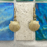 14k Yellow Gold Scallop Leverback Earrings