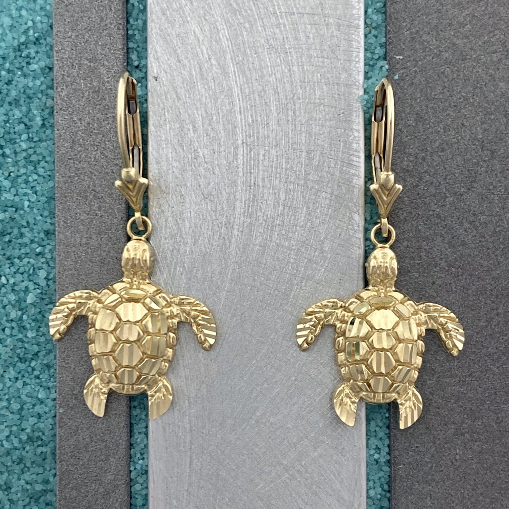 14k Yellow Gold Diamond Cut Turtle Leverback Earrings - DePaulas