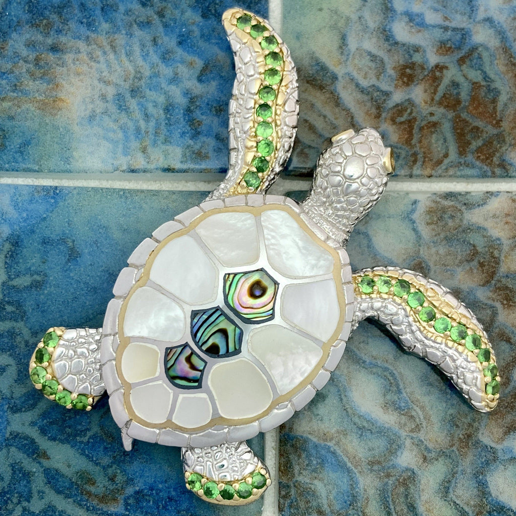 925 and 18k Gold Plating Mother of Pearl and Abalone Turtle with Tsavorite Kovel Collection Pendant - DePaulas