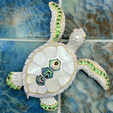 925 and 18k Gold Plating Mother of Pearl and Abalone Turtle with Tsavorite Kovel Collection Pendant