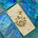 14k Yellow Gold Octopus Pendant