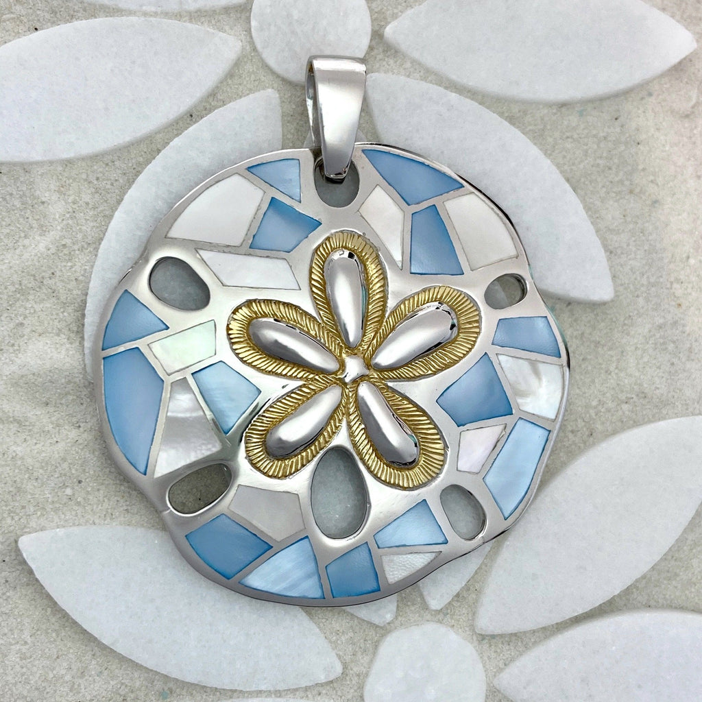 925 and 18k Gold Plating Blue and White Mother of Pearl Sand Dollar Kovel Collection Pendant - DePaulas