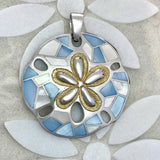 925 and 18k Gold Plating Blue and White Mother of Pearl Sand Dollar Kovel Collection Pendant