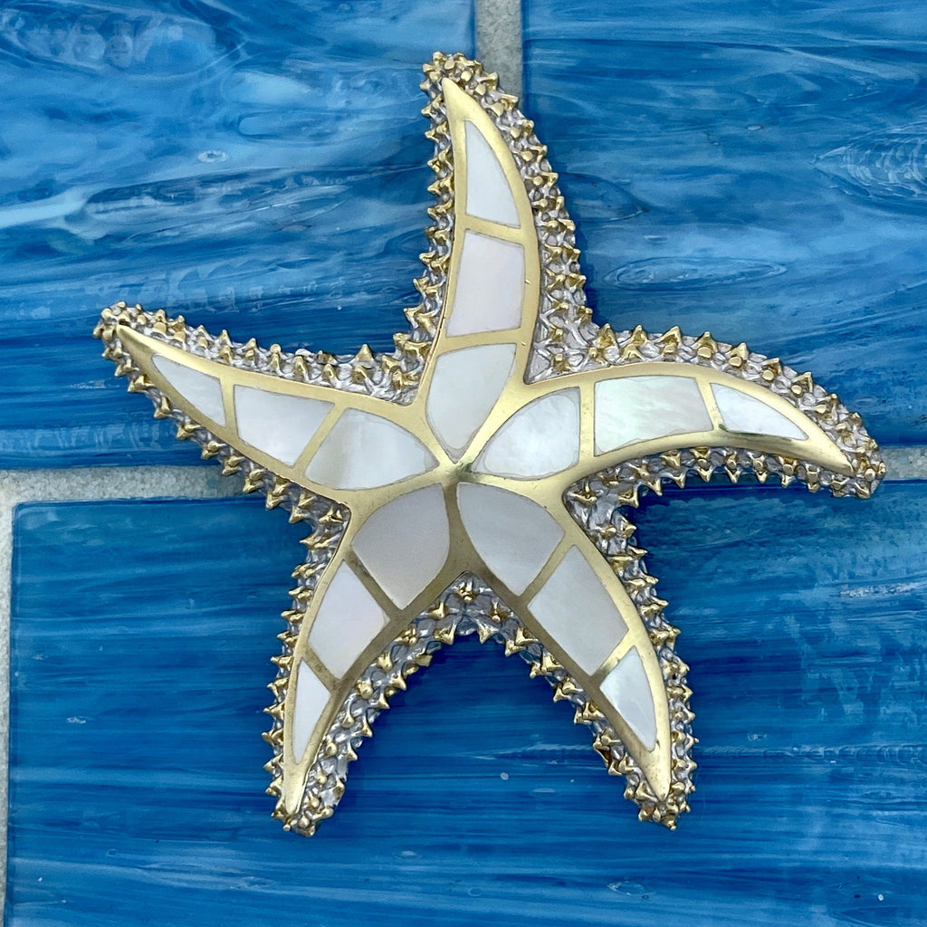 925 and 18k Gold Plating Mother of Pearl Starfish Kovel Collection Pendant - DePaulas