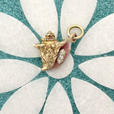 14k Yellow Gold Enamel Conch With Diamond .31ct Pendant