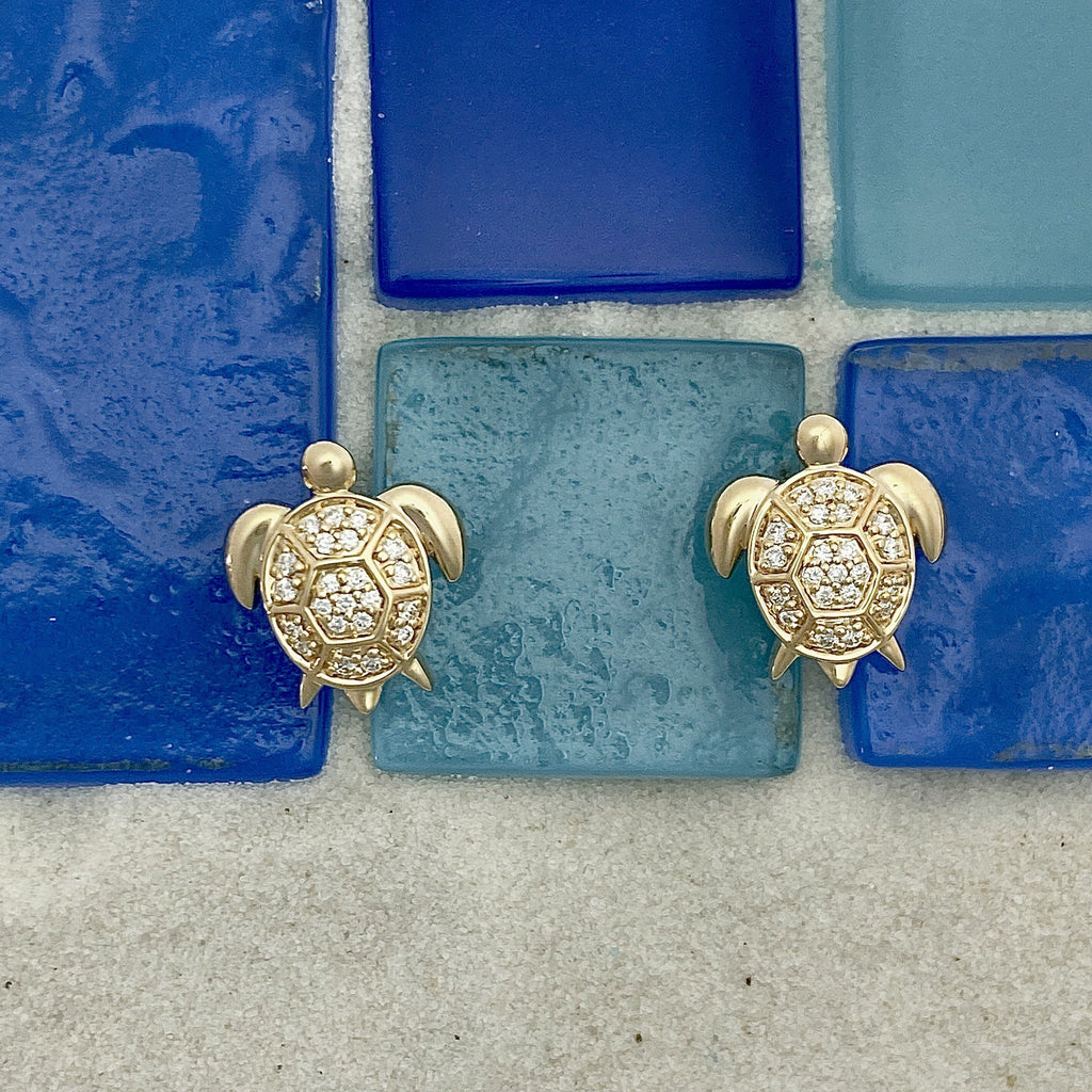 14k Yellow Gold Diamond .16cttw Turtle Post Earrings - DePaulas