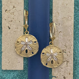 14k 2-Tone Gold Diamond Cut Sand Dollar Leverback Earrings