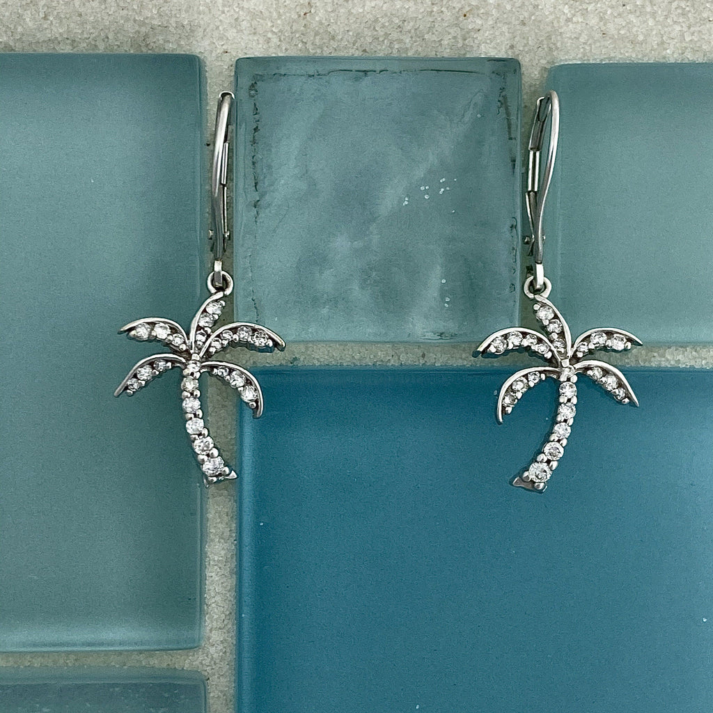14k White Gold Diamond .25cttw Palm Tree Leverback Earrings - DePaulas