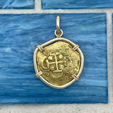 2 Escudo Spain Mint Rim Damage Dated 1612 Assayer D 14k Yellow Gold Bezel Treasure Coin Pendant