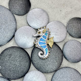 925 and 18k Gold Plating Synthetic Opal Seahorse Kovel Collection Pendant