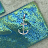 14k White Gold Diamond .10cttw Anchor Pendant