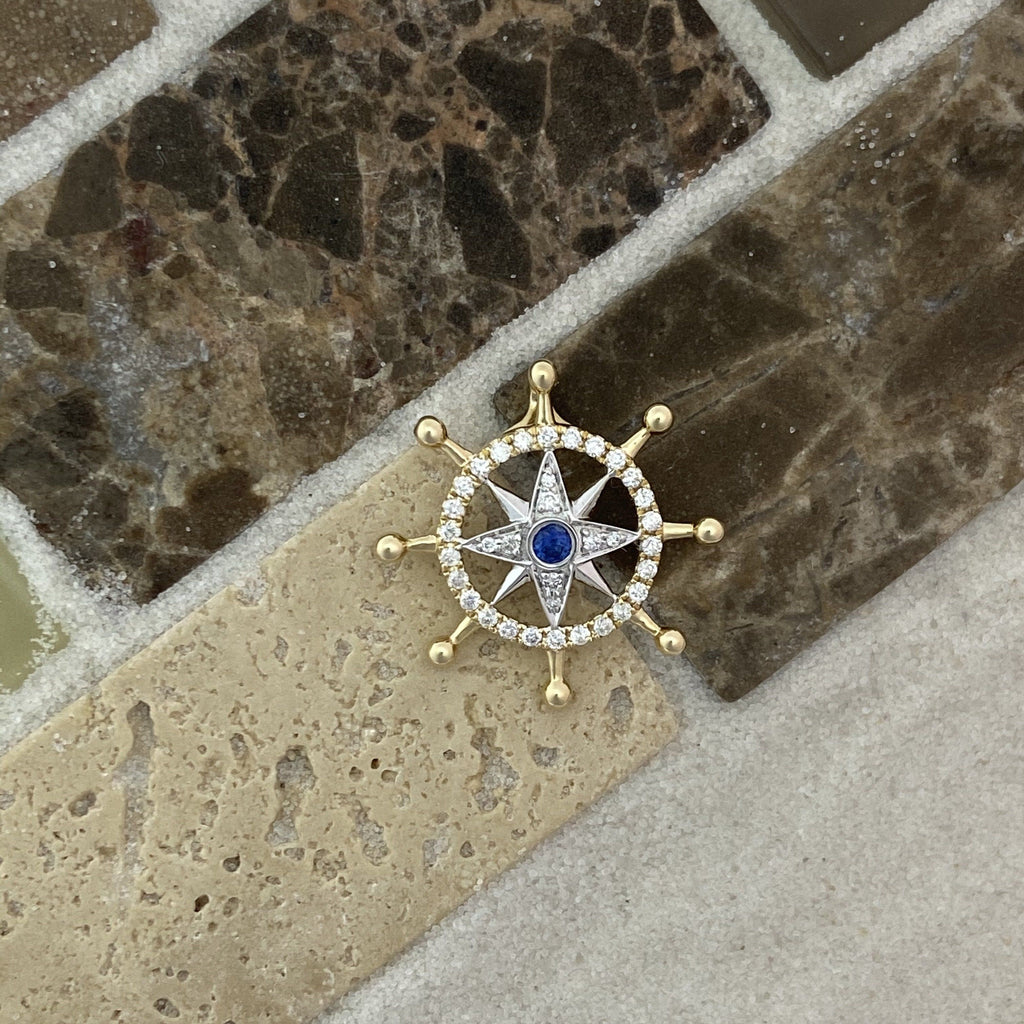 14k 2-Tone Diamond And Sapphire Compass Rose Pendant - DePaulas