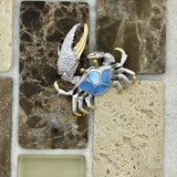 925 and 18k Gold Plating Crab with Blue Mother of Pearl Kovel Collection Pendant