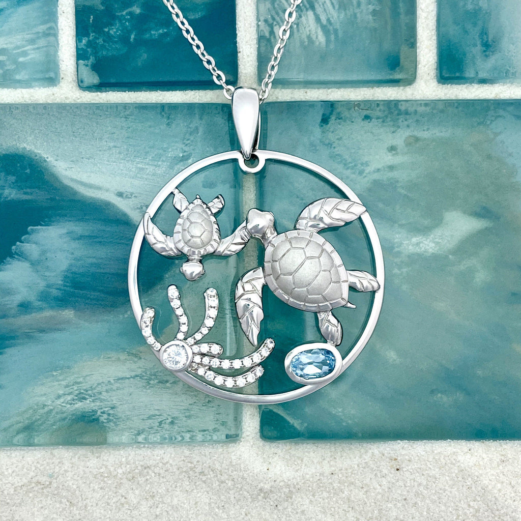 925 Sterling Silver Double Turtles With Cubic Zirconia and Blue Topaz Pendant - DePaulas