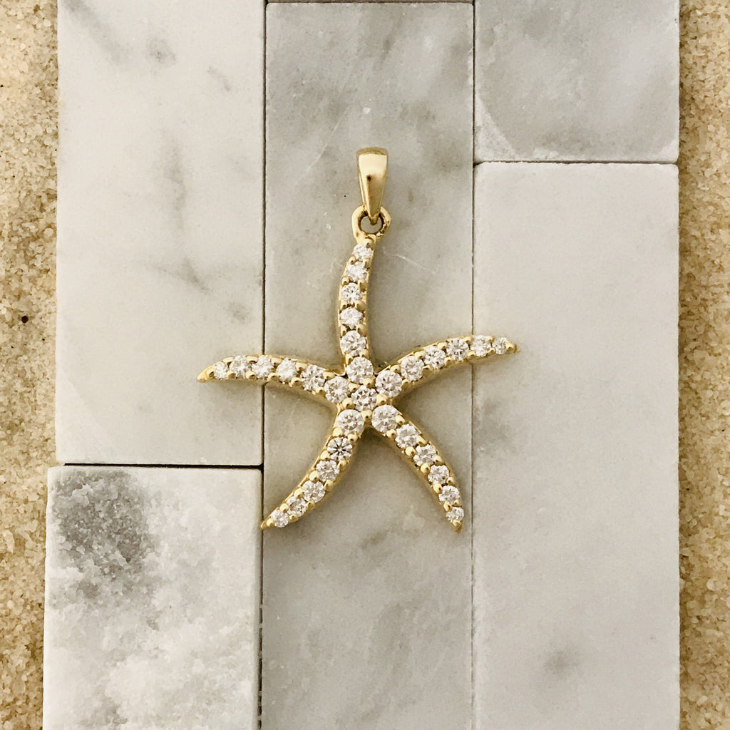 14k Gold .75ct Diamond Starfish Pendant - DePaulas