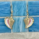 14k Yellow Gold Large Enamel Conch Leverback Earrings
