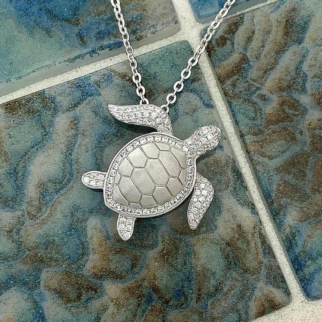 925 Sterling Silver Cubic Zirconia Turtle Necklace - DePaulas