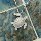 925 Sterling Silver Cubic Zirconia Turtle Necklace