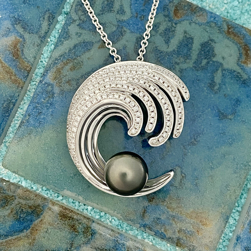 14k White Gold Diamond .55cttw Wave With Tahitian Pearl Necklace