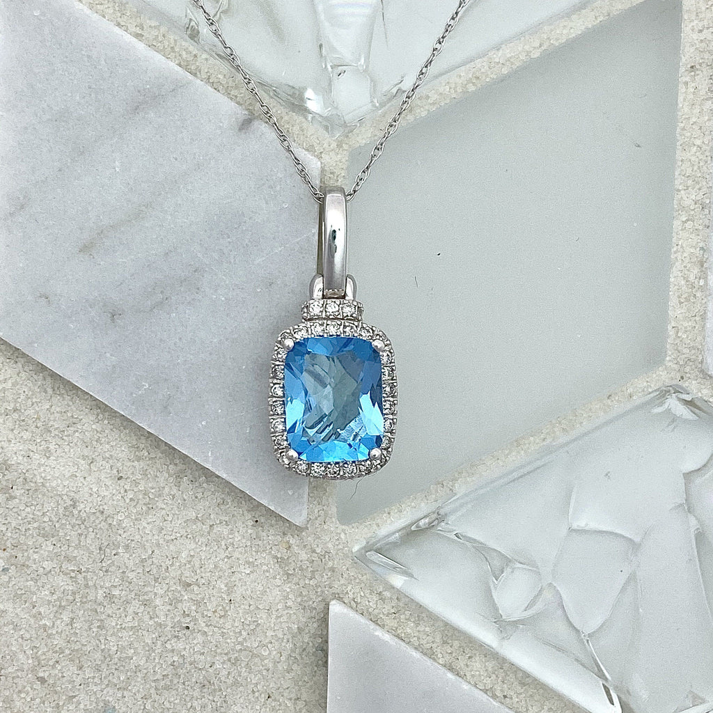 14k White Gold Blue Topaz 2ct with Diamond Halo .25cttw Necklace - DePaulas