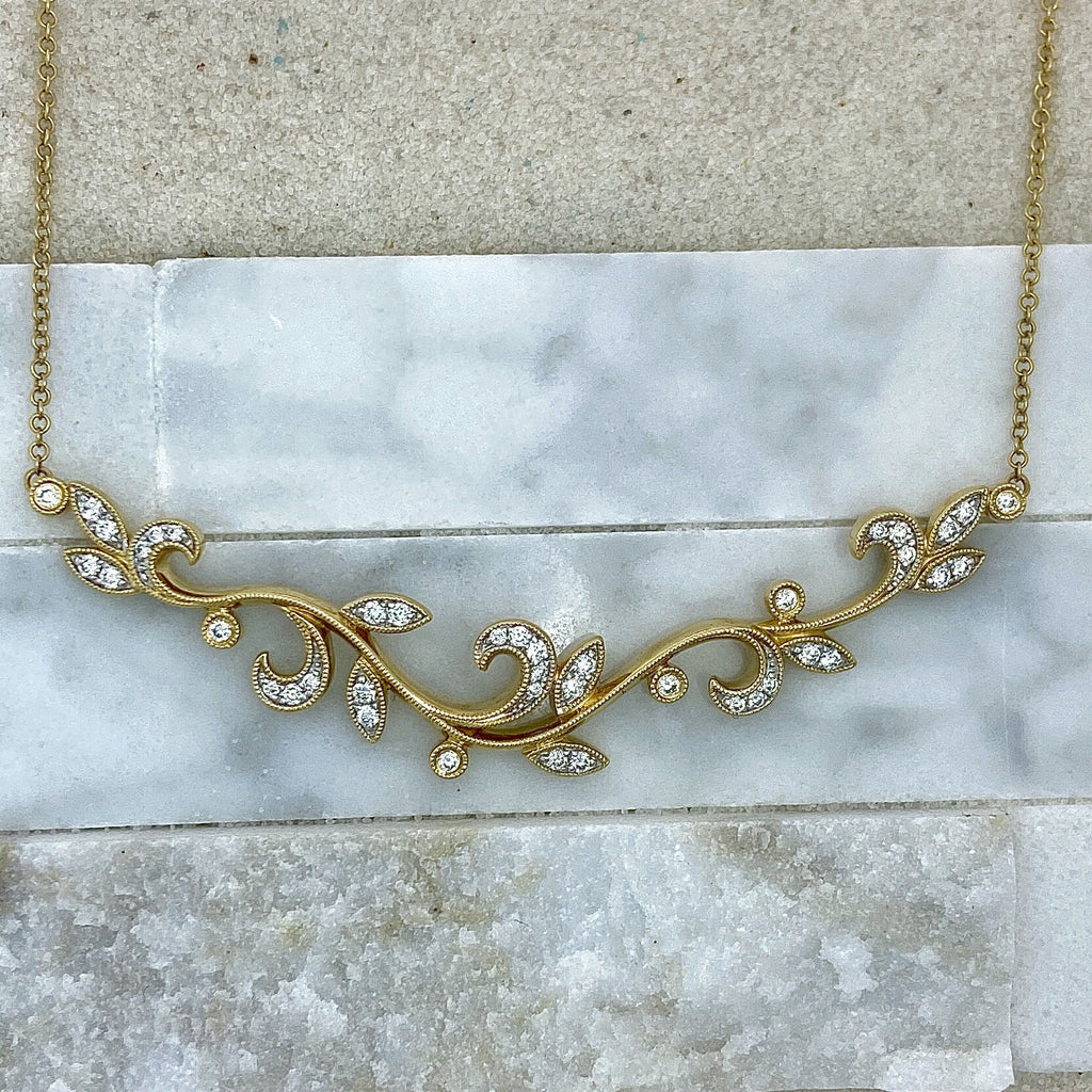 14k Yellow Gold Diamonds .32cttw Fashion Necklace - DePaulas